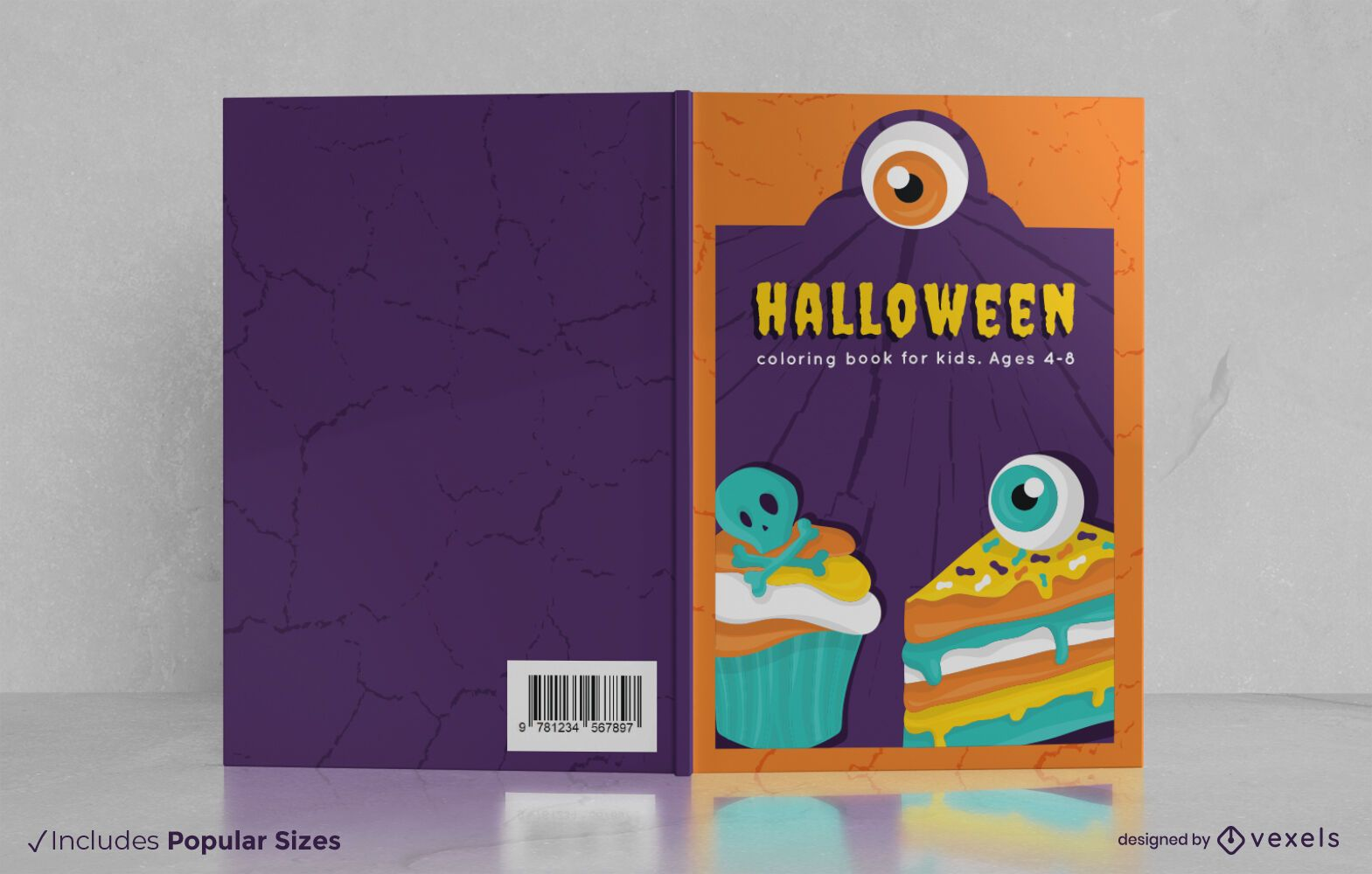 Dise?o de portada de libro de comida de Halloween