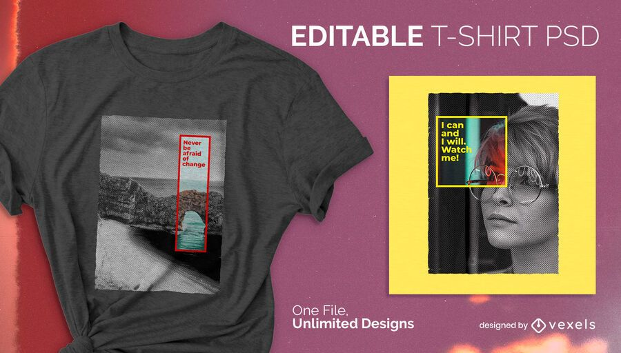 Color square scalable t-shirt psd