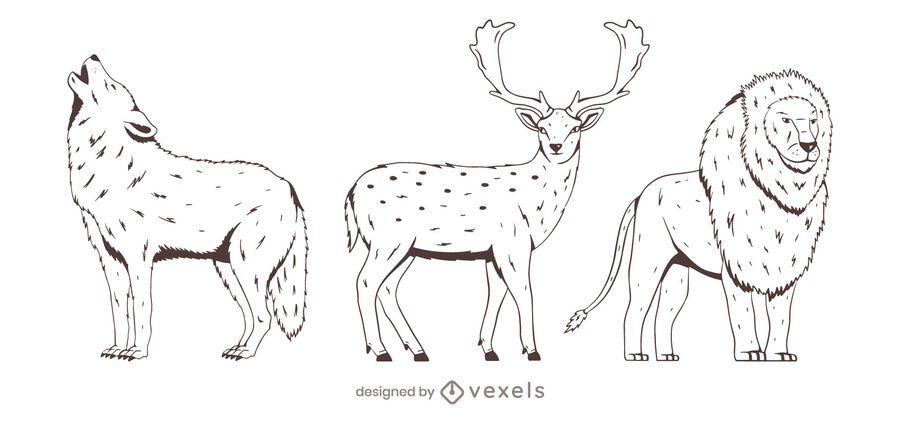 Diseño de escenografía animal dibujado a mano
