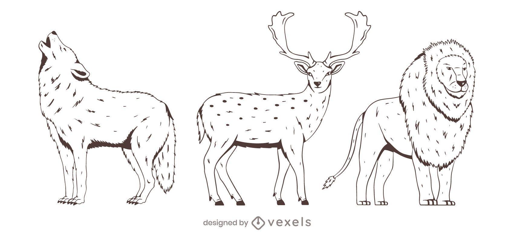 Animal hand drawn set design