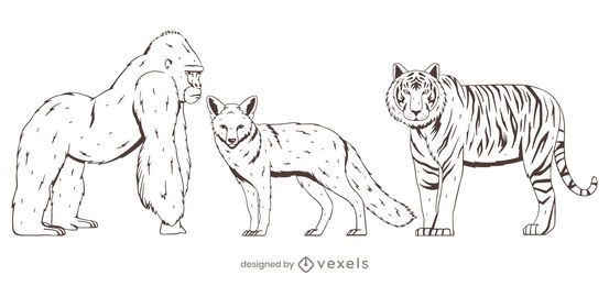 Animal set hand drawn design