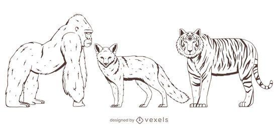Conjunto de animais desenho desenhado à mão