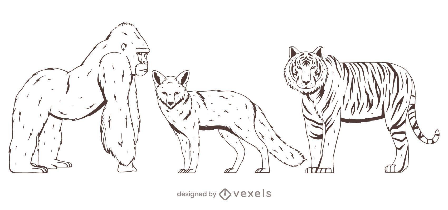 Animal set diseño dibujado a mano