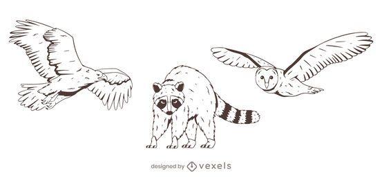 Cenografia desenhada à mão de animais