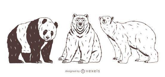 Bear set hand drawn design
