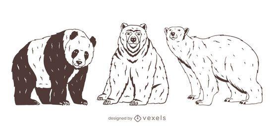 Urso conjunto desenho desenhado à mão