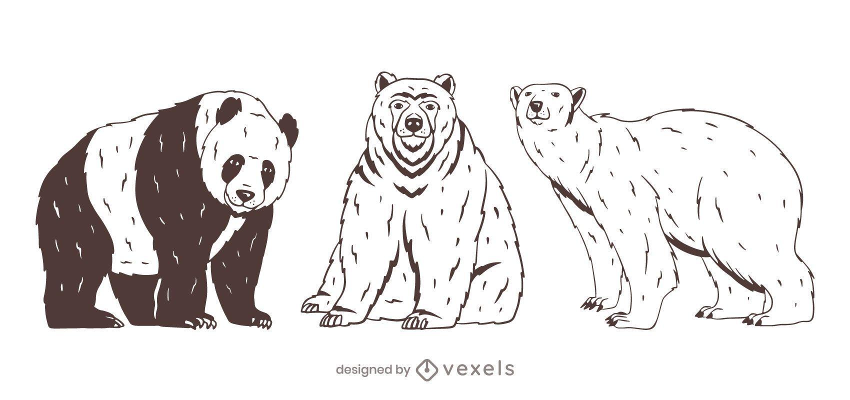 Bear set hand drawn design