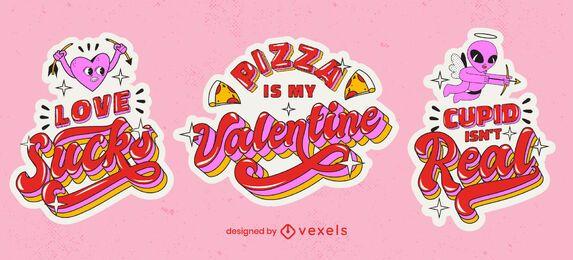 Conjunto de pegatinas de cita anti San Valentín
