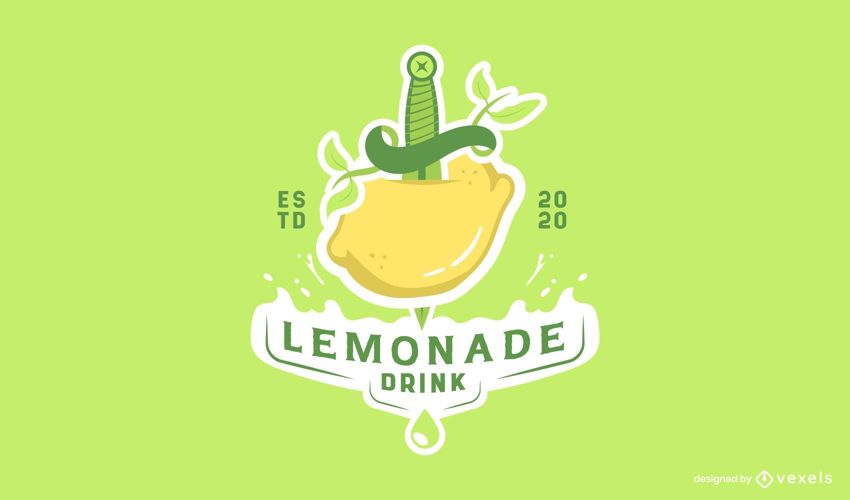 Modelo de logotipo de bebida de limonada