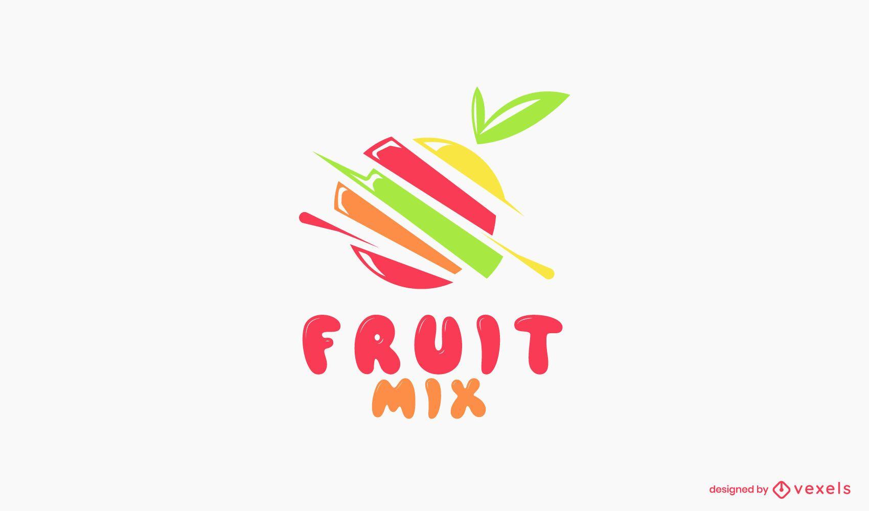 Modelo de logotipo de mix de frutas