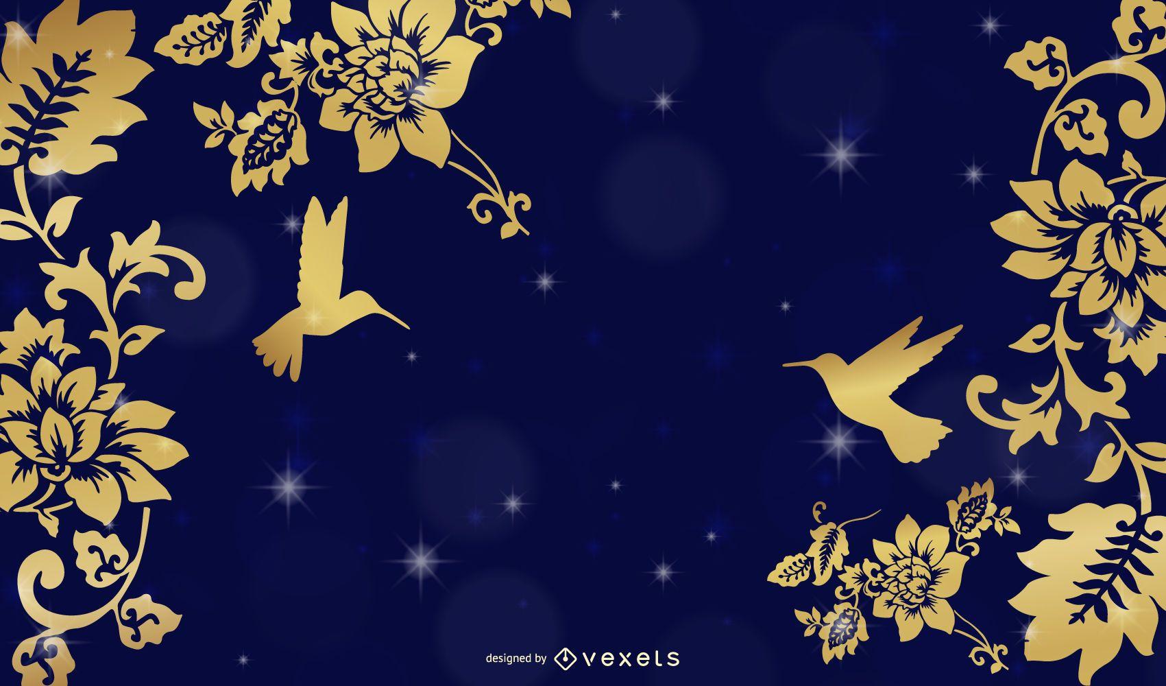 Fondo dorado de flores y pájaros