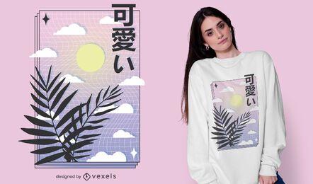 Diseño de camiseta vaporwave sky