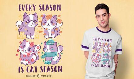 Design de camisetas da temporada de gatos