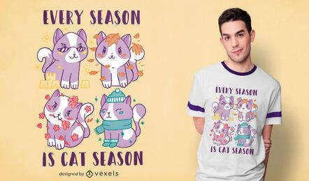 Diseño de camiseta cat season