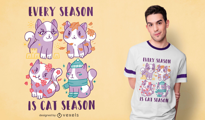 Diseño de camiseta cat season