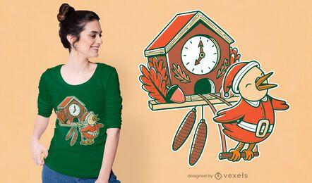 Diseño de camiseta navideña de cuco.