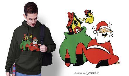 Drunk santa claus t-shirt design