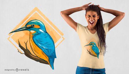 Diseño de camiseta de pájaro martín pescador