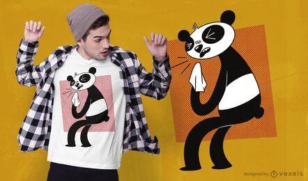 Diseño de camiseta panda alérgico.