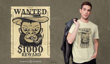 Diseño de camiseta de mono buscado.