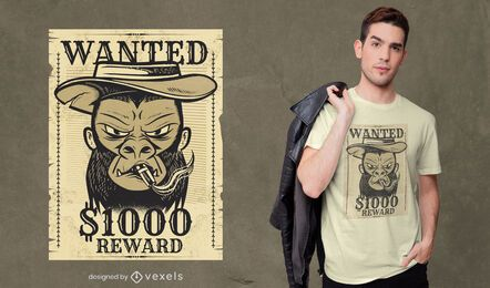 Wanted monkey t-shirt design