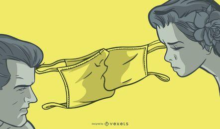 Diseño de ilustración de beso de mascarilla