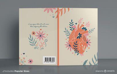 Diseño de portada de libro de corazón floral