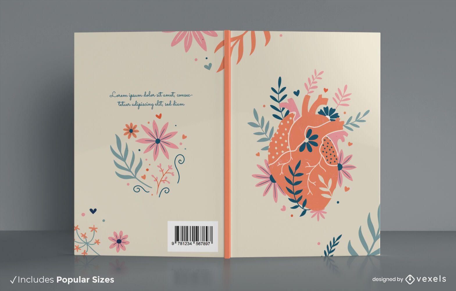 Dise?o de portada de libro de coraz?n floral