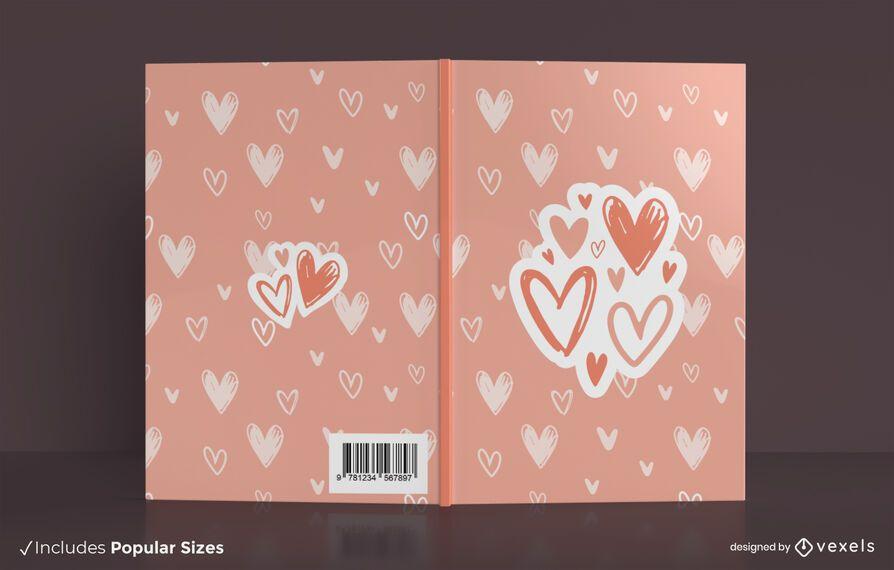 Design de capa de livro com corações de amor