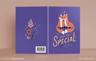 Diseño de portada de libro de pareja de zorros