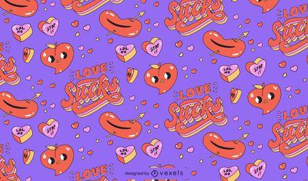 El amor apesta contra el diseño del patrón de San Valentín