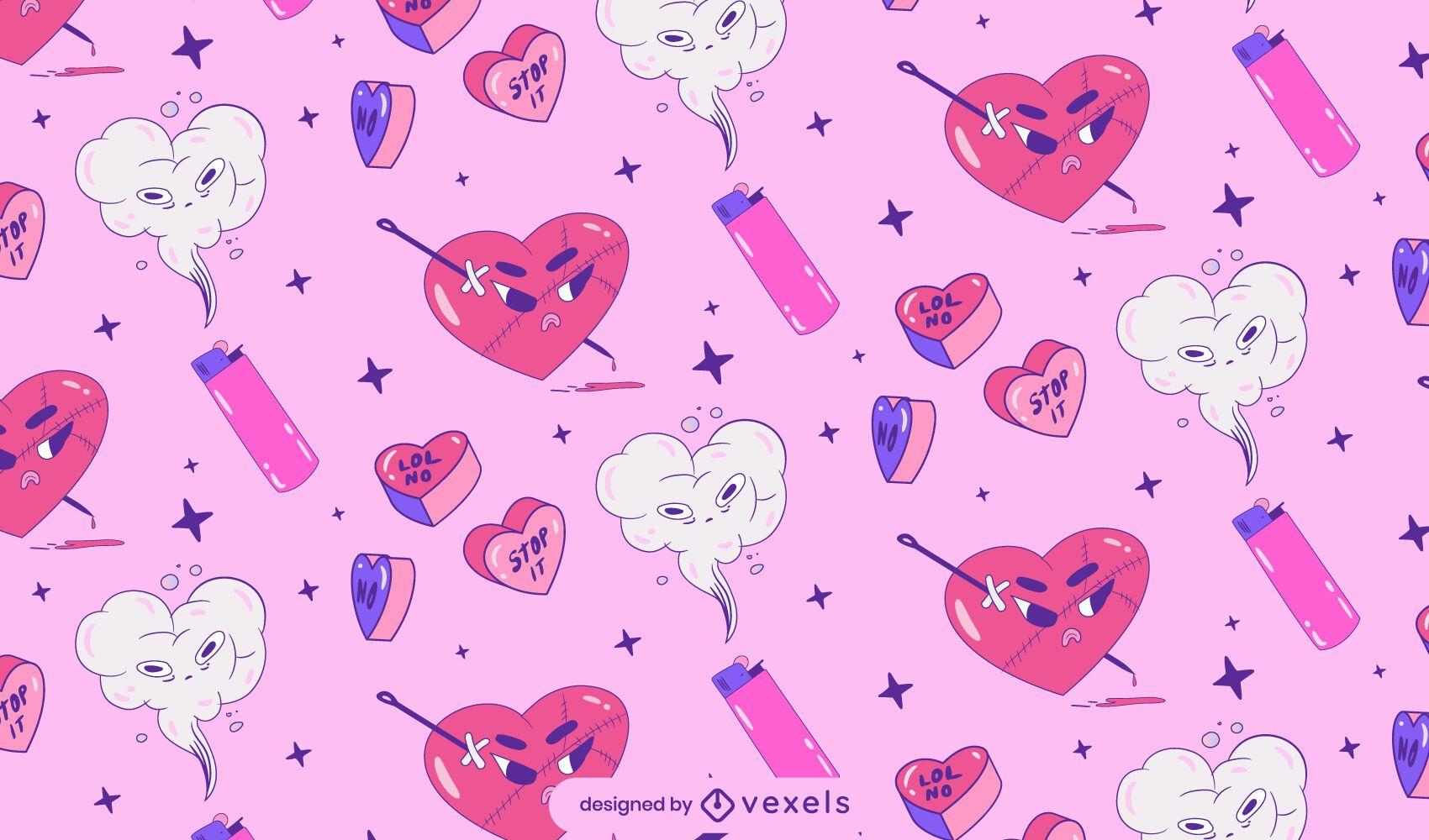 Anti valentine's heart pattern design