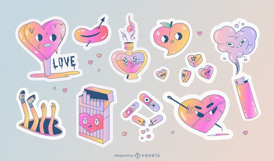 Anti valentine's sticker set