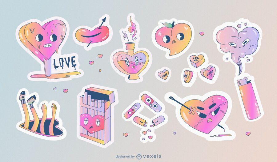 Set de pegatinas anti San Valentín
