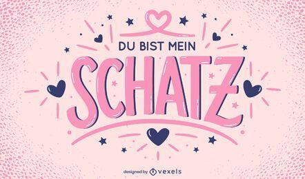 Diseño de letras alemanas de san valentín