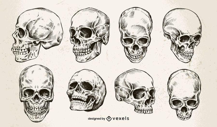 Hand drawn skull design set