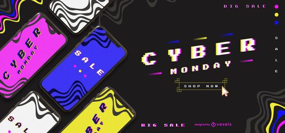 Design retro do controle deslizante Cyber Monday