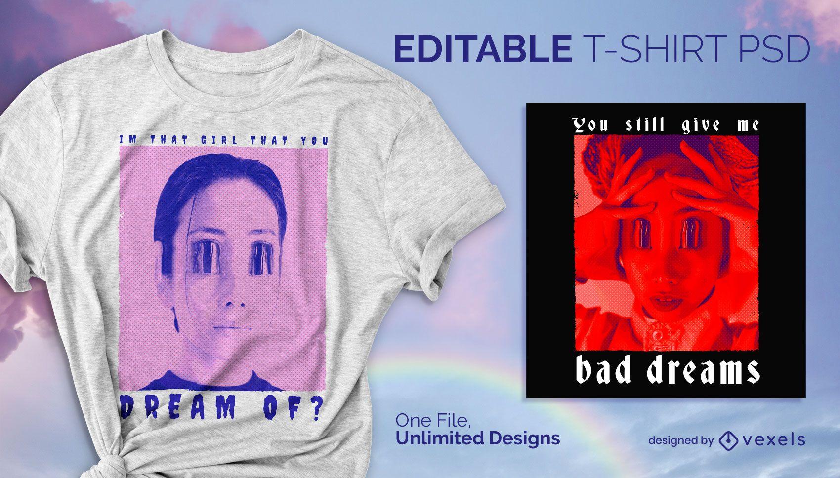Big eyes t-shirt design psd