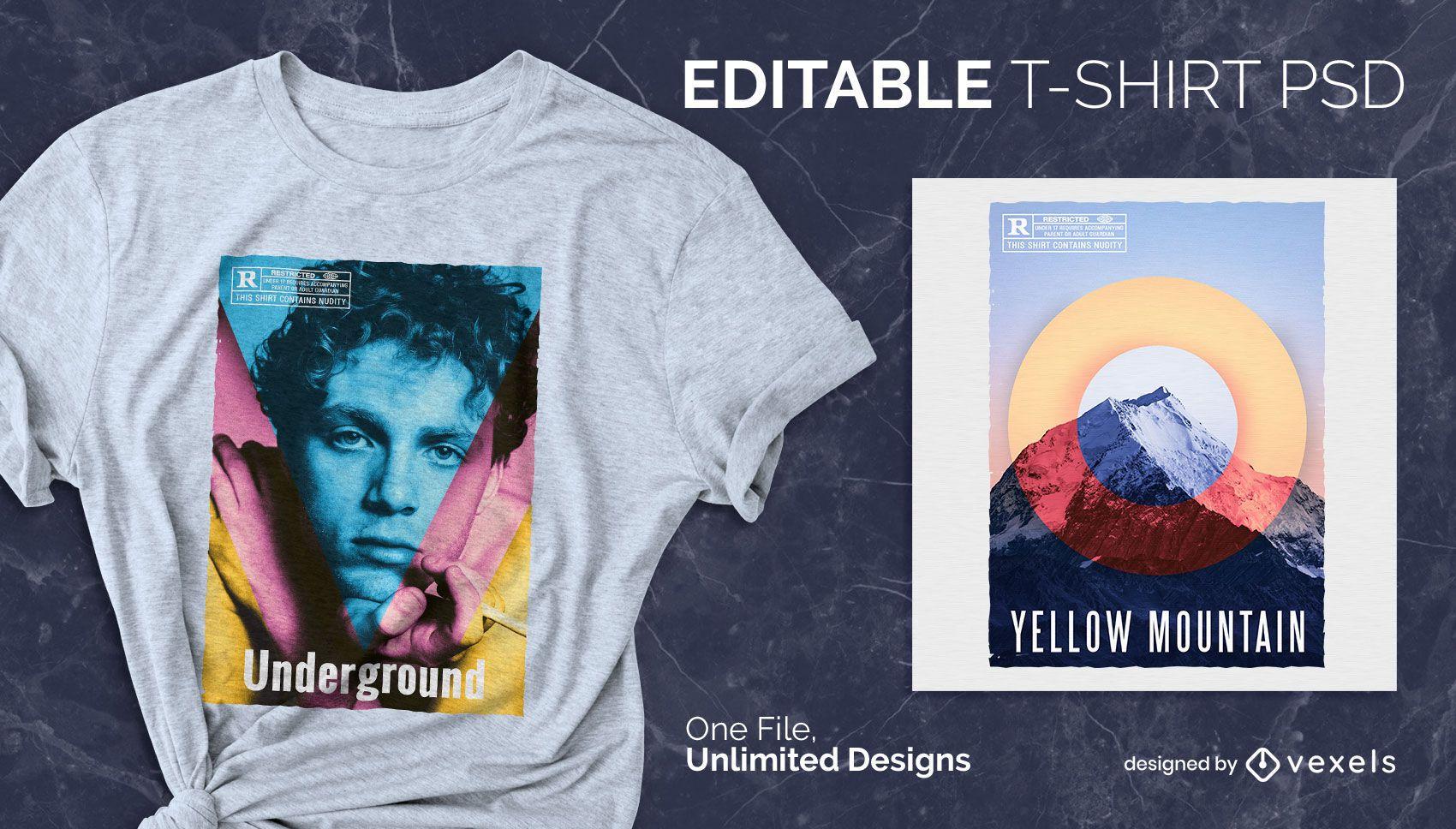 Camiseta escalable colores alternativos psd