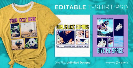 Comic scalable t-shirt psd