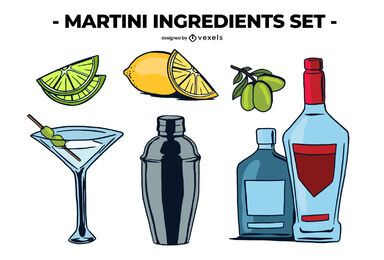Conjunto de ingredientes de Martini