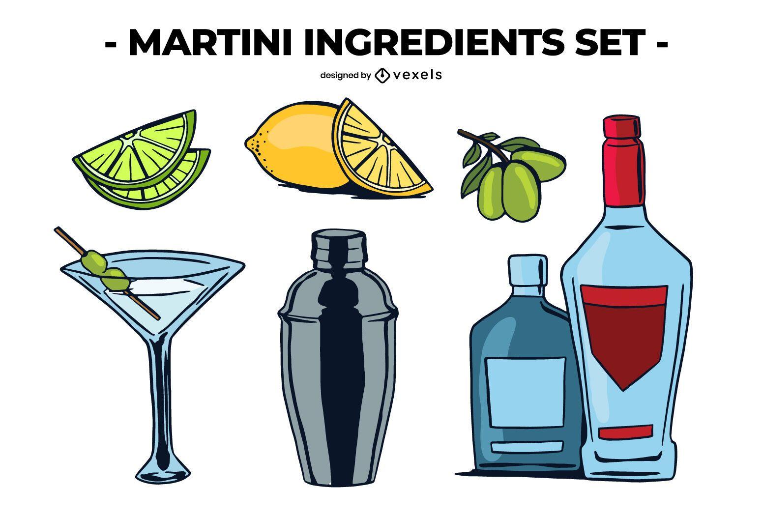 Martini ingredients set