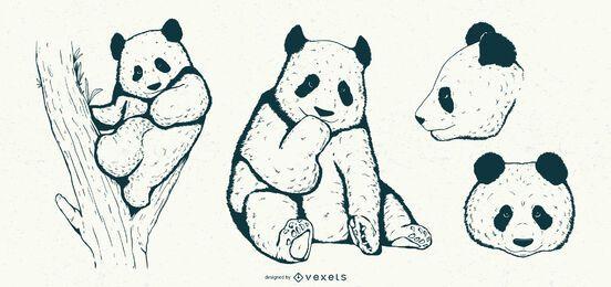 Conjunto panda dibujado a mano