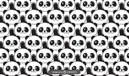 Desenho de padrão de urso panda fofo
