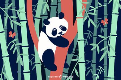 Bamboo panda flat illustration