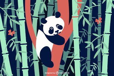 Ilustración plana de panda de bambú