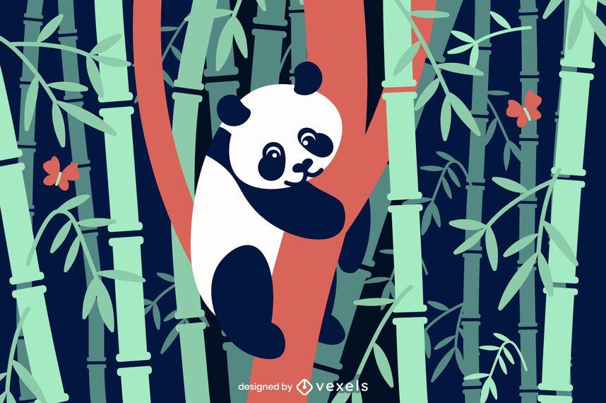 Bamboo panda flat illustration