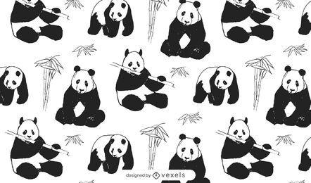 Diseño de patrón de bambú de osos panda