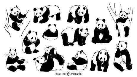 Coleção de desenho à mão de panda