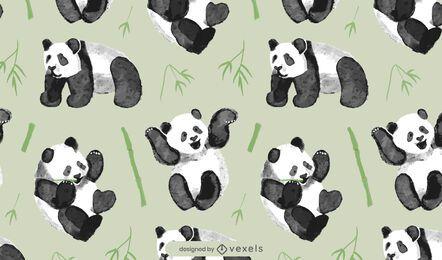 Desenho de padrão de urso panda aquarela